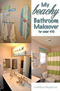 seeshellspace: My Beachy Bathroom Makeover for under $30 (ideas for guest bath in lower level)