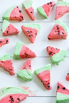 Watermelon Sherbet Bombe Cake - We're bringing back this fun watermelon ice cream cake and it's looking mighty fine! This is so incredibly easy to make, using store-bought sherbet and chocolate chunks! #IceCreamCakes #FrozenDesserts #WatermelonCake