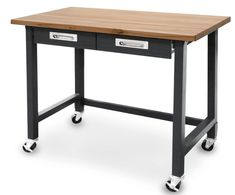 Seville Classics UltraGraphite Commercial Heavy-Duty Wood Top Workbench with Drawers on Wheels, Black Workbench On Wheels, Wood Top Workbench, Rolling Workbench, Workbench With Drawers, Mobile Workbench, Workbench Ideas, Industrial Workbench, Workbench Organization, Garage Workbench