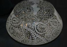 Paisley design etched around a unique vintage bowl. Sold