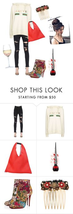 """""""comfy kickback"""" by itsbrogankay ❤ liked on Polyvore featuring Yves Saint Laurent, Gucci, MM6 Maison Margiela, Christian Louboutin, Dolce&Gabbana and RabLabs"""