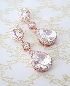 Rose Gold Teardrop Luxe Zirkonia Teardrop-Ohrring von ColorMeMissy
