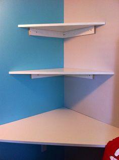 Awesome new corner desk! - like the corner shelves but would prefer scroll-like 90 degree brackets