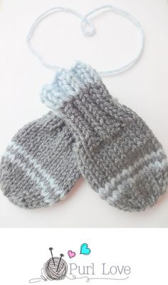 baby mittens knitting pattern by Purl Love
