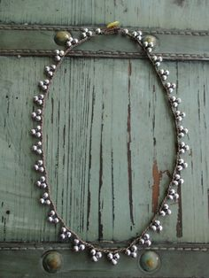 Crochet pennant necklace - TriBeca / Silver - dainty semi precious stone sparkly bunting triangle casual bohemian boho jewelry by slashKnots