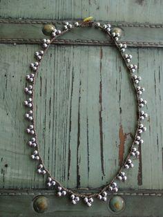 Crochet pennant necklace - TriBeca / Silver - dainty semi precious stone sparkly bunting triangle casual bohemian boho jewelry by slashKnots...