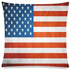 Red White Blue Star Stripe United States USA American Flag Rectangle Sofa Home Decorative Throw Pillow Case Cushion Cover Cotton Polyester Twin Side Printing 20 x 20 inches