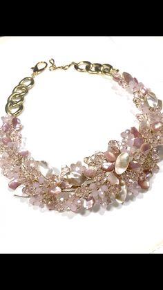 20dfe700d6c8 Fahoma pink necklace with crystal and genstones collar rosa de cristales y  nacar