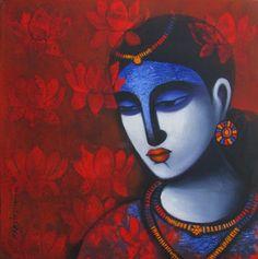 Dreams of Lotus by Pratiksha Bothe #NoMoreEmptyWalls #Indianart #Indianpaintings #contemporaryart