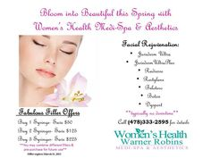 Spring into these March Beauty Specials at Women's Health Warner Robins Medi-Spa and Aesthetics. #spring #discounts #fillers #dermalfillers #beauty #skin #spa #salon #health