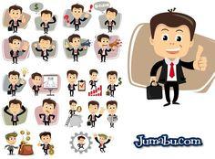 Bajate estos vectores gratuitos de personajes de oficina totalmente vectoriales. Como vemos en la imagen pueden descargar sin cargo estas ilustraciones donde se presenta un hombre de oficina con di...