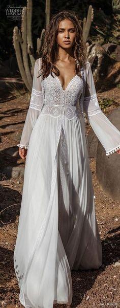 asaf dadush 2018 bridal long lantern sleeves thin strap sweetheart neckline heavily embellished bodice romantic bohemian soft a line wedding dress sweep train (1) mv lv -- Asaf Dadush 2018 Wedding Dresses #wedding #bridal #weddings