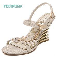 US $20.30 FEDIROMA 2016 Summer Women Sandals,Wedge heel sandals,Fashion Rhinestone high heel shoes,Elegant Wedding heels for women. Aliexpress product