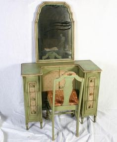 """French Provincial painted vanity with chair and mirror, by Tobey Furniture company. Attractive small vanity 30\""""H x 38\""""W x 16\""""D. Mirror 30\"""" x 20\"""". Chair has stain on cushion and chips in paint. All pieces have nice wear."""