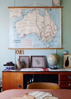 island home, map of Australia, map scroll. Photo - Sean Fennessy, production – Lucy Feagins / The Design Files.