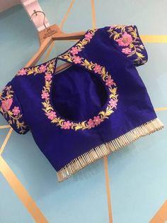 Pretty blouse design tutorial of aari work - ArtsyCraftsyDad Simple Blouse Designs, Blouse Back Neck Designs, Stylish Blouse Design, Designer Blouse Patterns, Fancy Blouse Designs, Latest Blouse Designs, Hand Work Blouse Design, Kids Frocks Design, Embroidery Designs