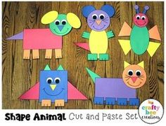 Shape Animal Crafts Bundle by Crafty Bee Creations Fun Diy Crafts, Creative Crafts, Kids Crafts, Craft Projects, Arts And Crafts, Craft Ideas, Kids Diy, Decor Crafts, Quick Crafts