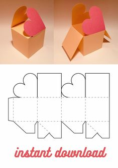 Printable Box, Diy Gift Box Template, Paper Box Template, Love Box, Box Patterns, Paper Crafts Origami, Diy Box, Valentines Diy, Diy Gifts