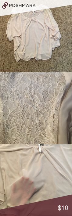 Flowy top XSmall flowy very light cream top. Design on shoulder. Lightly see though. Worn once. Perfect condition! LC Lauren Conrad Tops Blouses