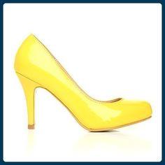 Pearl gelber Leder Stiletto, High Heel, Patent PU - Gelb, Synthetisch, 7 UK / 40 EU - Damen pumps (*Partner-Link)
