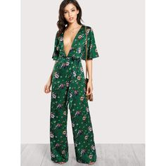 Hot Price SHEIN Sexy Jumpsuits for Women Bell Sleeve Plunge Neck Self Belted Palazzo Jumpsuit Multicolor Half Sleeve Floral Jumpsuit Palazzo Jumpsuit, Floral Jumpsuit, Jumpsuit Style, Casual Jumpsuit, Online Fashion, Mono Floral, Nightwear Online, Jumpsuit With Sleeves, Halter Jumpsuit