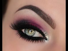 Berry Silver & Crystal Smokey Eye Tutorial.. love the pop of color right in the middle