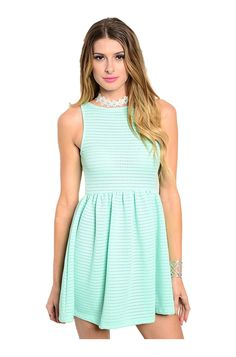 - Juniors Sizing - 96% POLYESTER 4% SPANDEX - USA - This cute and trendy sleeveless dress features a scoop neckline, fit & flare silhouette, and cutout open back. - Dress up for a cocktail party or we