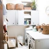 I finally have a laundry room (no more laundromat!), but since it's also our entryway, it's more of a Boot Explosion Area