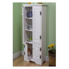 TMS Extra Tall Pine Cabinet in White from Wayfair. Another kitchen pantry possibility!
