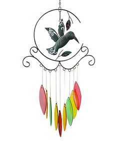 Hummingbird Antique Glass Wind Chime   zulily