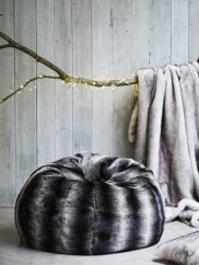 Relax into this luxuriously soft Giant Faux Fur Beanbag in Grey Chinchilla. This wonderful beanbag is designed to shape to the contours of your body and is filled with poly beads which retain warmth, making this gorgeous beanbag so snuggly. Fur Bean Bag, Bean Bag Chair, Homeware Uk, Sofa Bed Throws, Mood Images, Woodland Theme, Faux Fur Throw, Black N White, Chinchilla