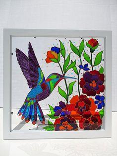 Colibri art Glass painting Sun catcher décoration murale décor