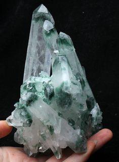 1.42lb Green Phantom Quartz Crystal Cluster Mineral Specimen Healing #ad