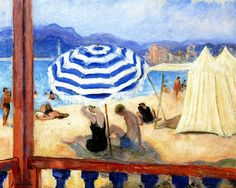 Cannes, Blue Parasol and Tents - Henri Lebasque  French 1865-1937