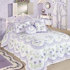 Cottage Garden Lavender Chenille Oversized Bedspread