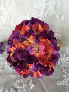 Purple and Orange Bridal Bouquet - Purple and Orange Keepsake Bouquet - Hydrangea Bouquet - Fall Wedding Bouquet - Bridesmaids Bouquets - pinned by pin4etsy.com