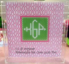 Personalized Square 12x12 Lucite Tray with Handles