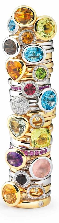 Stacked!!!! Amici Collection of Gemstone Rings by Al Coro