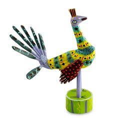 Hand Painted Peacock Sculpture - Proud Peacock | NOVICA