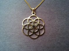 Seed of life pendant in solid gold 10k - sacred geometry - flower of life jewelry - gold chain
