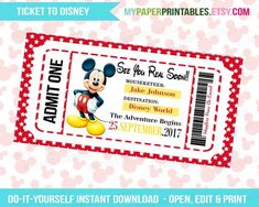 picture about Free Printable Disney Tickets identified as 22 Least difficult Disney - Tickets shots Traditional disneyland