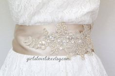 Light Gold Beaded Wide Champagne Sash  Bridal by girlslovelike, $35.00