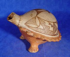 Pueblo Pottery, HISTORIC - Early Contemp 1870-1950 - 'Acoma pottery; effigy canteen with open mouth' - Len Wood's Indian Territory