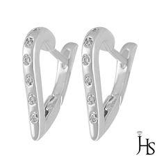 14K White Gold 0.10 Cts G-H/VS2 Round Diamond Elegant Fancy Snap Back Earrings #WomensFancyFashionEarringsJSH