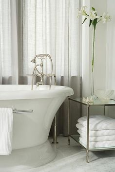 Sarah Richardson Design inc season 2 Catherines Bathroom  warm up current master bath - curtains