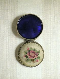 Vintage Pill Box Petit Point Rose Cobalt Blue