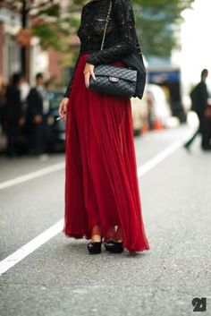 Dark Red Maxi Skirt   