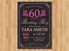 60th Birthday Invitation for Woman. Adult birthday by arthomer
