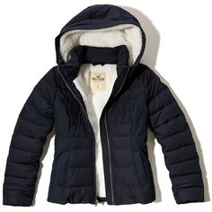 Hollister Sherpa Lined Puffer Jacket (2.865 RUB) ❤ liked on Polyvore featuring outerwear, jackets, navy, blue jackets, wind resistant jacket, navy blue puffer jacket, slim jacket and navy blue jackets