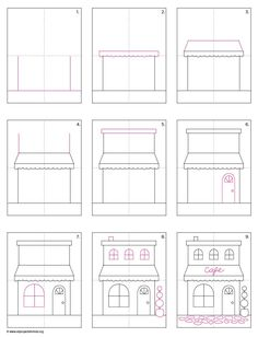 Draw a Cafe. PDF tutorial download. #howtodraw #directdraw  #cafe